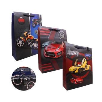 Bolsa para regalo 3D, carros y motos para caballero, 40 X 30 X 12 cm.