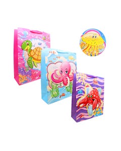 Bolsa para regalo 3D con glitter infantil, animaless marinos, modeloos surtidos, 40 X 30 X 12 cm.