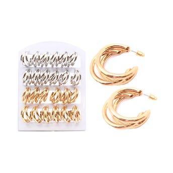 Arete arracada trio de tubos lisos, dorado y plateado surt, 3 cm.