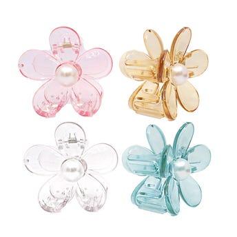 Pinza para cabello flor transparente con perla, colores surtidos, 7 X 4 cm.