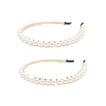 Diadema metálica con perlas, blanca, 1 cm.