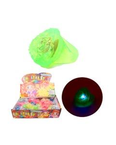 Anillo de goma con luz corazón HALLOWEEN, colores surt 3 X 3.5 cm.