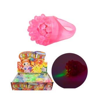 Anillo de goma con luz y picos, HALLOWEEN, colores surt 2 X 3 cm.