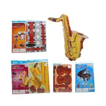 Rompecabezas de instrumentos musicales 3D, modelos surtidos sujetos a disp, 21 x 14 cm.