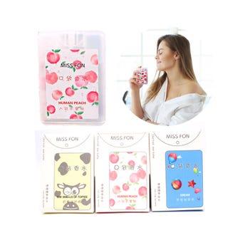 Perfume fragancia de bolsillo, 3 aromas surtidos, 8.5 X 5.5 cm.