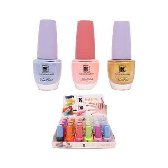 Esmalte para uñas efecto gel, KR, colores surtidos, 15 ml.