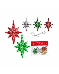 Adorno estarella de NAVIDAD con glitter, set de 4 pz, colores surtidos, 8.5 cm.