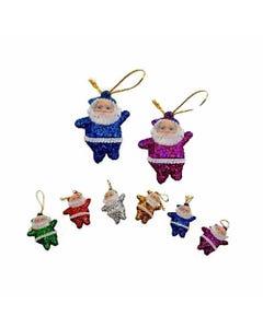 Muñeco Santa Claus de NAVIDAD con glitter, set de 6 pz, colores surtidos, 4.5 cm.