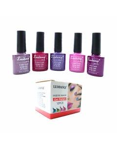 Esmalte para uñas gelish, para sellar con luz UV led, LUODANQI, combinación N, 10 ml.