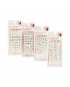Sticker decorativo para uñas de figuras con cristales, dorado, modelos surtidos, 12 x 6 cm.