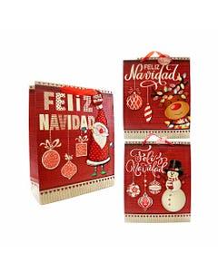 Bolsa para regalo 3D, 32 X 26 X 10 cm de NAVIDAD, muñeco de nieve, santa, reno y pingüino, surtidos.