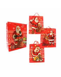 Bolsa para regalo 3D,32 X 26 X 10 cm, Santa Claus de NAVIDAD, mod surtidos.