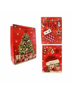 Bolsa para regalo con glitter, 32 X 26 X 10 cm de NAVIDAD, pino, gorro, bota y guante, mod surtidos.