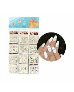 Sticker decorativo para uñas contorno plateado, modelos surtidos sujetos  disponibilidad, 6 X 5 cm.