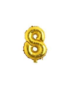 Globo metálico de número 8, dorado, 84 X 51 cm aprox, 32 pulg.