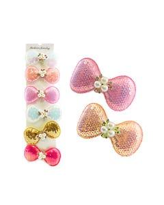Moño para cabello de lentejuelas con perlas y cristales, colores surtidos, 7.5 x 4 cm.