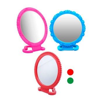 Espejo grande con base, colores surtidos, 13 cm.