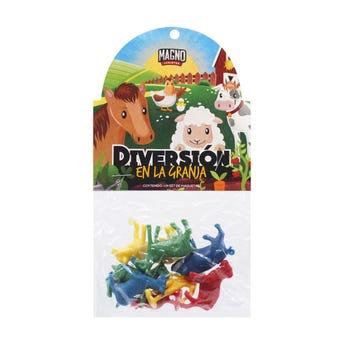 Animalitos de la granja, colores surtidos, con 8 piezas.