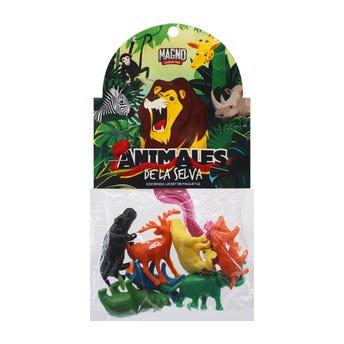 Animalitos de la selva, colores surtidos, con 8 piezas.