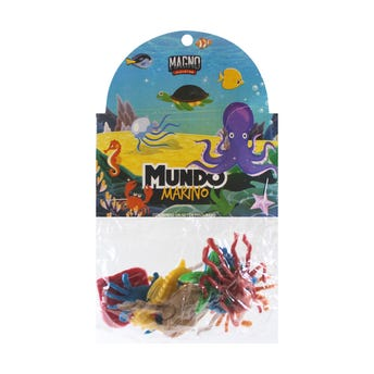 Animalitos mundo marino, colores surtidos, con 8 piezas.