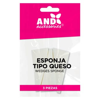 Esponja aplicadora de maquillaje tipo queso, AND, bolsa con 3 pz, blanca.