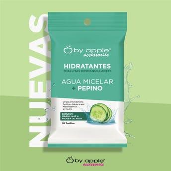Toallitas desmaquillante de agua micelar más pepino, BY APPLE ACCESORIES.